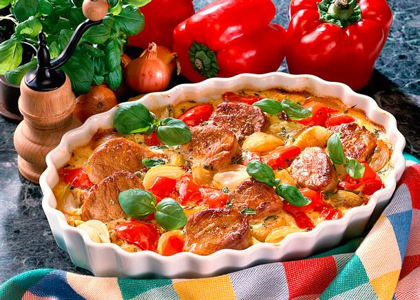 Bunter Schweinemedaillon- Gemüseauflauf Rezept