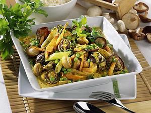 Buntes Pilz-Curry aus dem Wok Rezept