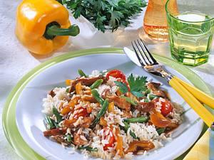Buntes Reisfleisch mit Bohnen Rezept