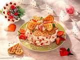 Buttermilch-Waffelturm mit Erdbeersahne Rezept