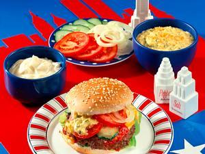 Cheeseburger mit frischem Gemüse und Hackfüllung Rezept