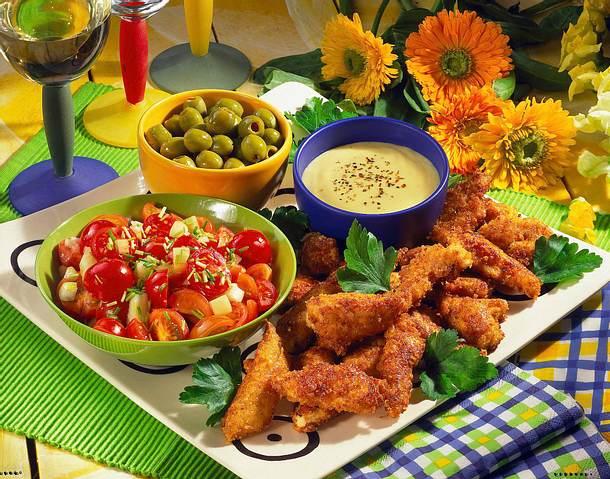 Chicken-Nuggets mit Knoblauch-Dip Rezept