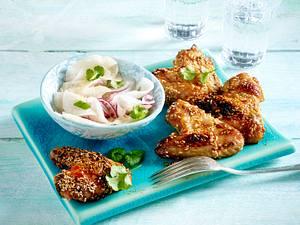 Chicken Wings mit Sesam-Asia-Soße und Rettichsalat Rezept