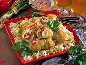 Chinakohlrouladen auf Reis Rezept