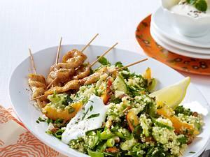 Couscous-Salat mit Gouda-Speck-Spießen Rezept