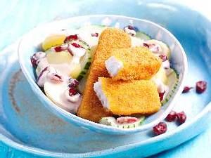 Cranberry-Kartoffelsalat mit Fischstäbchen (für Kinder) Rezept