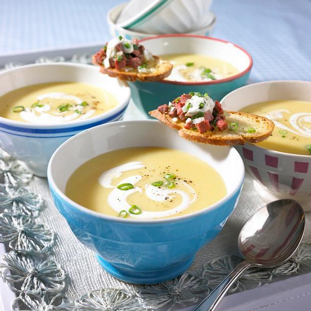 Cremige Kartoffelsuppe mit Roastbeef-Tatar Rezept