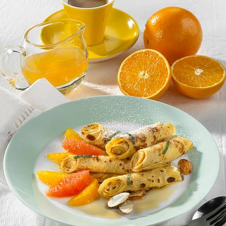 Crêpes mit Orangenfilets Rezept