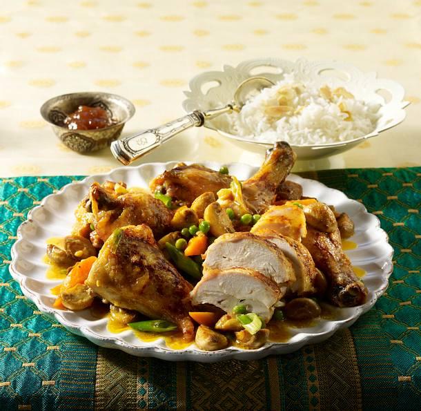 Curry-Huhn vom Blech Rezept