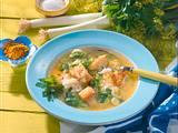 Curry-Suppe mit Fisch und Reis Rezept