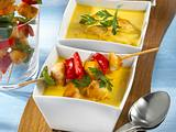 Currysuppe zu Hähnchen-Spießen Rezept