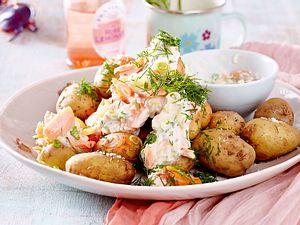 Kartoffeln mit Lachs-Kräuter-Dip Rezept