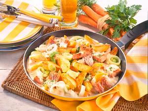 Deftige Kartoffelpfanne mit Senfcreme Rezept