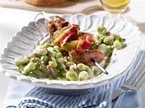Dicke Bohnen-Gemüse zu Nacken-Speck-Spieß Rezept