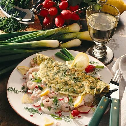 Dillpfannkuchen mit Krabben-Gemüsedip Rezept