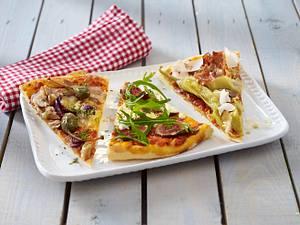 Dreierlei belegte Pizza Rezept