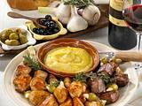 Dreierlei Fleisch mit Safran-Knoblauchpüree Rezept