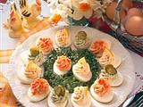 Eier mit dreierlei Frischkäsefüllung Rezept