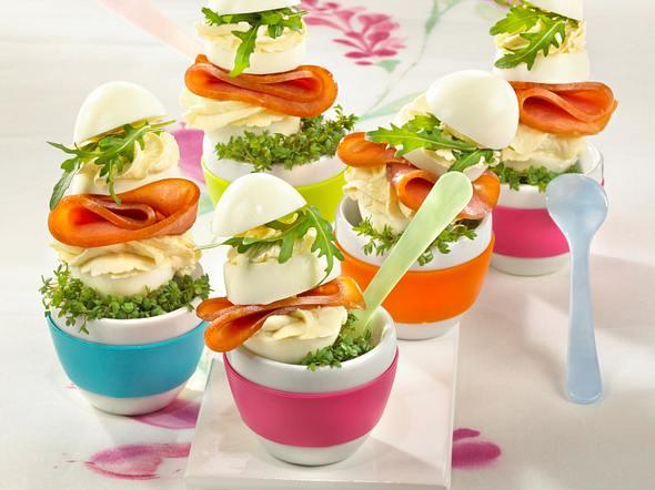 Eier-Schinken-Rauke-Türme Rezept