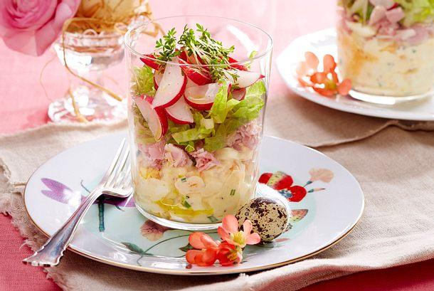 Eiercocktail-Schichtsalat mit Schinken & Kresse Rezept