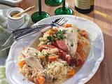 Elsässer Riesling-Huhn auf Sauerkraut Rezept