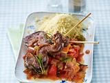 Enten-Saté-Spieße zu Couscous und Ratatouille-Gemüse Rezept