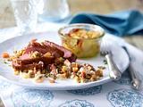 Entenbrust auf Calvados-Apfel-Linsen zu Kartoffel-Gratin Rezept
