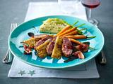 Entenbrust in Feigen-Cassis-Soße zu Kartoffel-Nuss-Rösti, Spitzkohl und Möhren (Niedrigtemperatur-Methode) Rezept