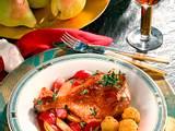 Entenkeulen mit süß-saurem Zwiebel-Birnengemüse Rezept