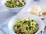 Erbsen-Risotto mit Kochschinken und Minz-Pesto Rezept