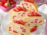 Erdbeer-Biskuit-Rolle Rezept