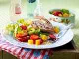 Erdbeer-Mango-Salat zu Thunfischsteak Rezept