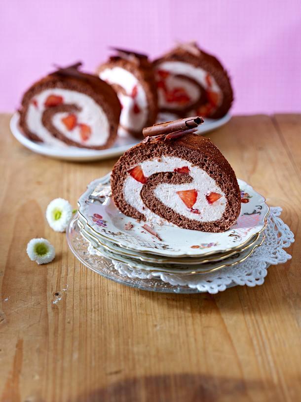 Erdbeer-Schoko-Rolle Rezept