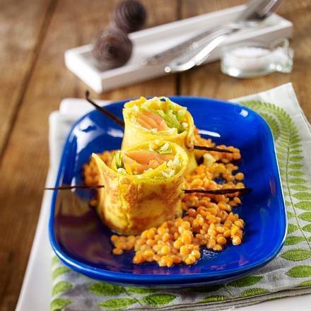 Exotische Lachspäckchen auf Curry-Linsen Rezept