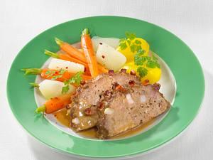 Falscher Hase mit Möhren-Kohlrabi-Gemüse Rezept