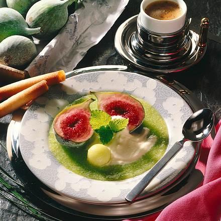 Feige auf Melonenpüree mit Zitronensahne Rezept