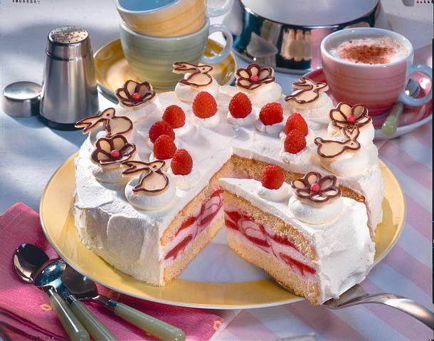Feine Himbeer-Joghurt-Torte