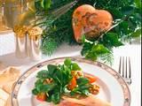 Feldsalat mit geräucherten Forellenfilet Rezept