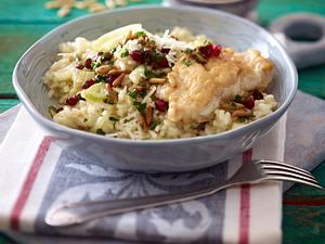 Fenchelrisotto mit Lengfisch und Granatapfel-Gremolata Rezept