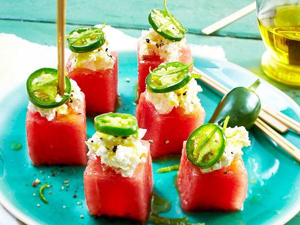 Feta-Melonen-Würfel mit milder Chili Rezept