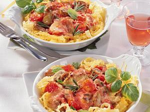 Filetpfännchen mit Tomaten-Pilzsoße Rezept