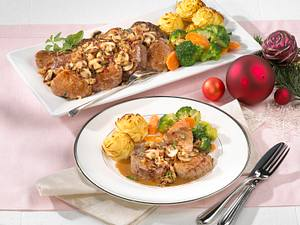 Filetplatte mit Pilz-Schinken-Kruste Rezept