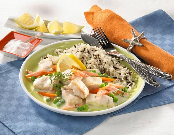 Fisch-Ragout mit Reis Rezept