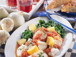 Fisch-Stifado mit Spinat Rezept