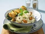 Fisch-Zucchini-Spieße auf Pilzrisotto Rezept