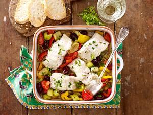 Fischfilet auf französischem Oliven-Gemüse Rezept