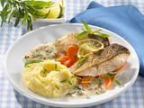 Fischfilet mit Estragon-Senf-Soße und Limetten-Kartoffelpüree Rezept