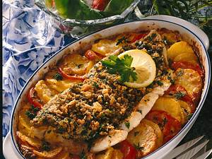 Fischfilet mit Kruste à la Bordelaise auf Tomatenscheiben Rezept