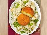 Fischfrikadellen mit Mandel-Blumenkohl und Reis Rezept