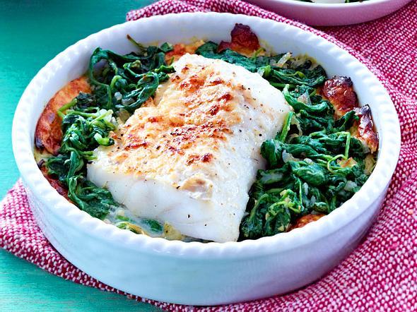 Fischgratin mit Spinat Rezept
